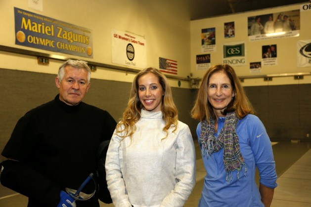 Ed Korfanty, Mariel Zagunis and Cathy Zagunis in the Oregon Fencing Alliance