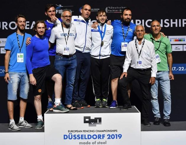 Israeli team on the European podium celebrating Yuval Freilich win