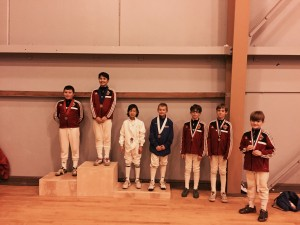 AFM Epee Fencers at the podium of Y10 Men's Epee at Northern California RYC at Treasure Island