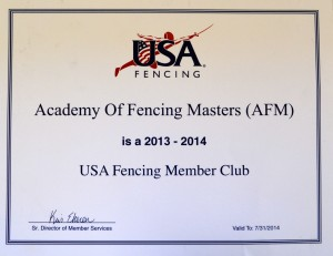 USFA Fencing Club Membership Certificate
