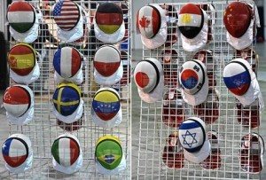 Fencing masks in Cadet and Junior Fencing World Championship 2014 in Plovdiv, Bulgaria