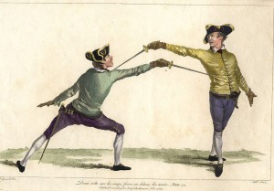fencing duel depicted in old pictures