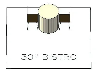 How many chairs fit around a 30 inch bistro table