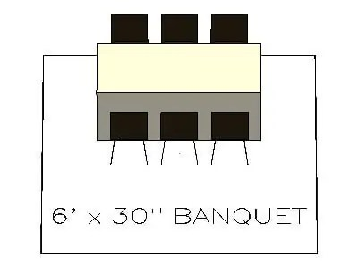 How many chairs fit around a 6ft banquet table