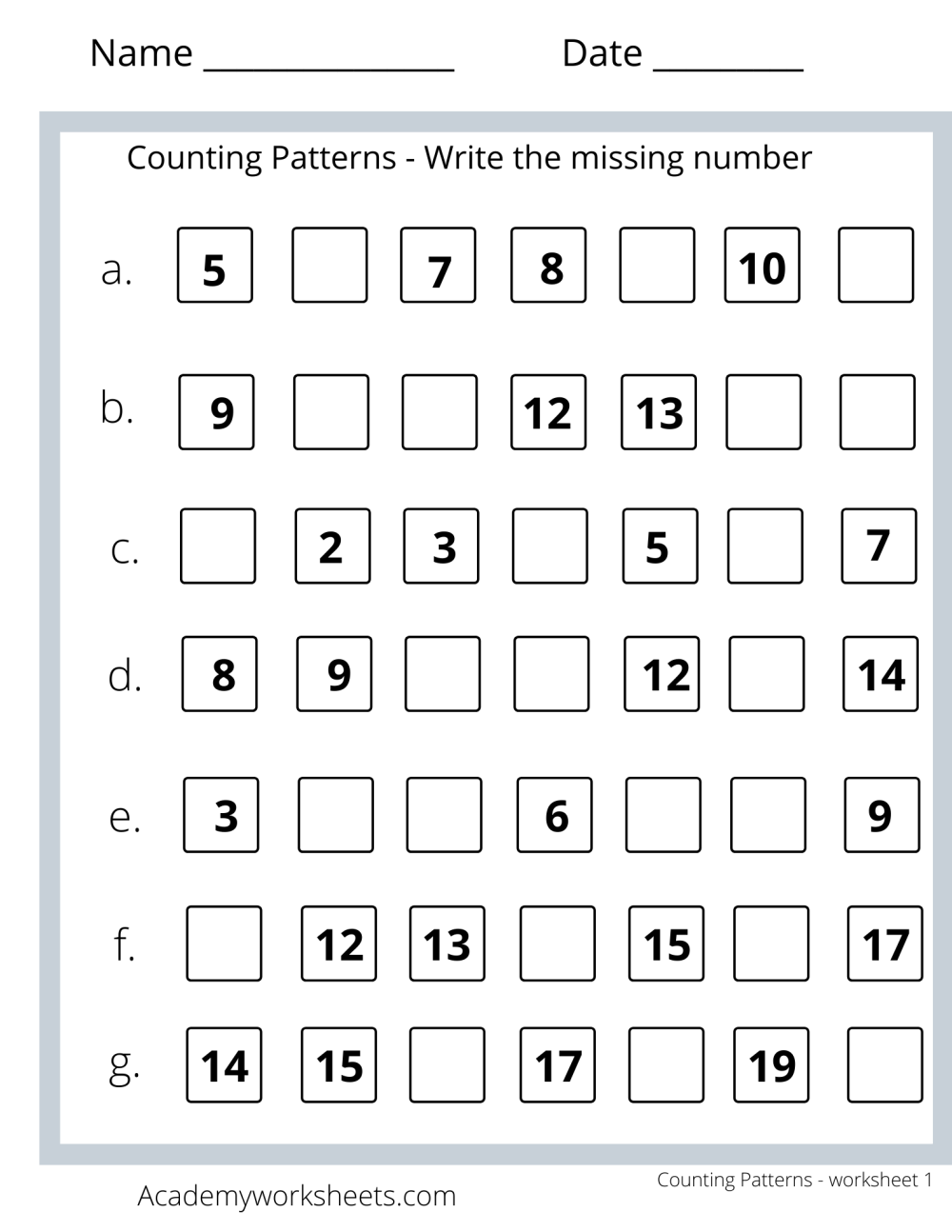 medium resolution of Counting Patterns Math Worksheets - Academy Worksheets