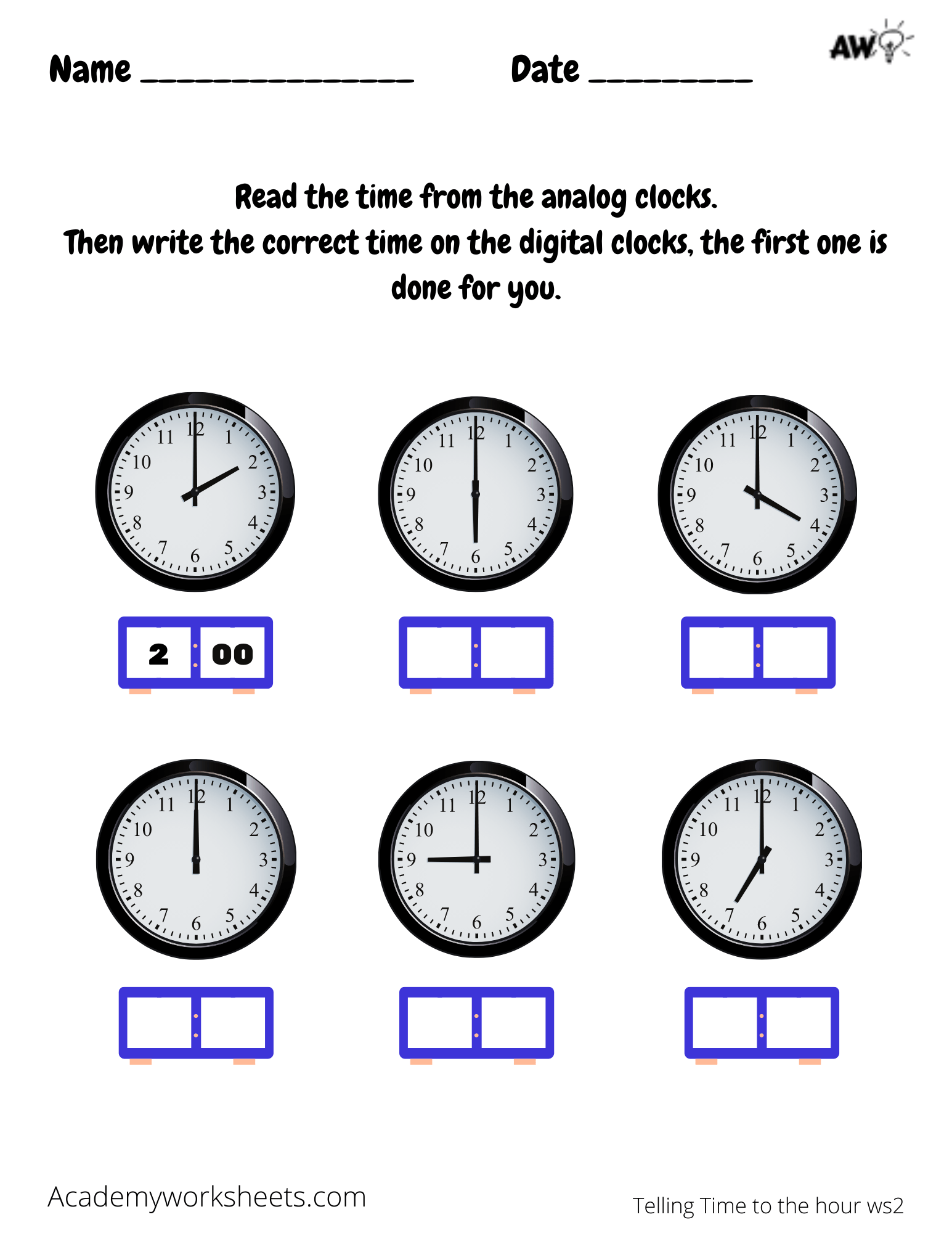 hight resolution of Clock Worksheets - Telling Time to the Hour - Academy Worksheets
