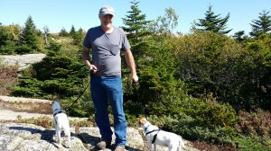 Todd Long and his two dogs in Acadia National Park.