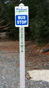 Island Explorer bus stop in Acadia National Park