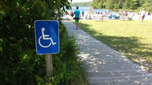 An accessible wooden boardwalk at Echo Lake at Acadia National Park