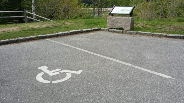 Parking for the disabled is located near this wayside exhibit at the Fabbri Picnic Area: and Memorial at Acadia National Park.