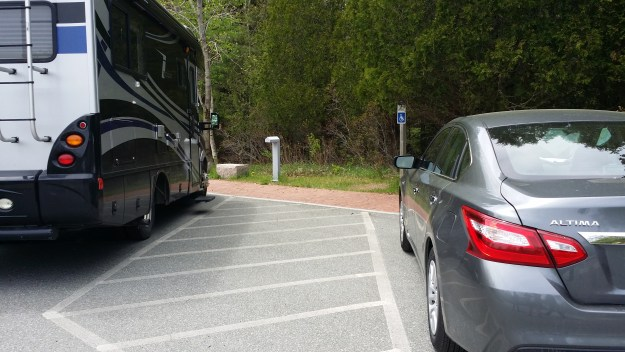Accessible parking at the Jordan Pond House at Acadia National Park