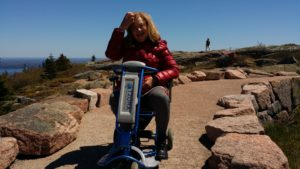 Shirley Beck, a pediatric physical therapist, on the Cadillac Mountain summit.