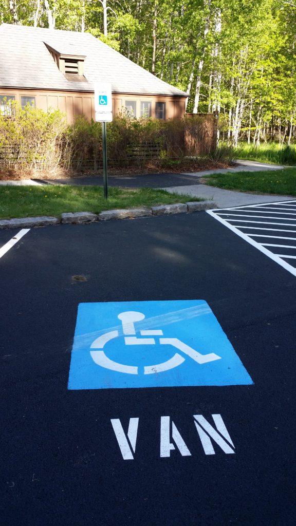 Accessible parking is reserved for a van at the Sieur de Monts area at Acadia National Park.