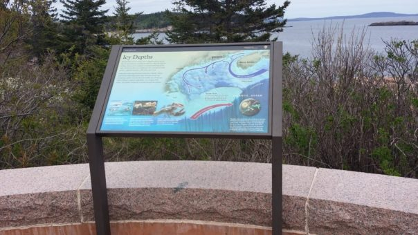 Wayside exhibit at Thunder Hole at Acadia National Park