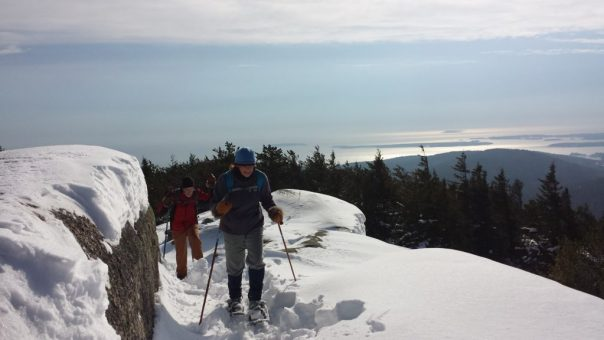 Snow shoeing in Acadia National Park