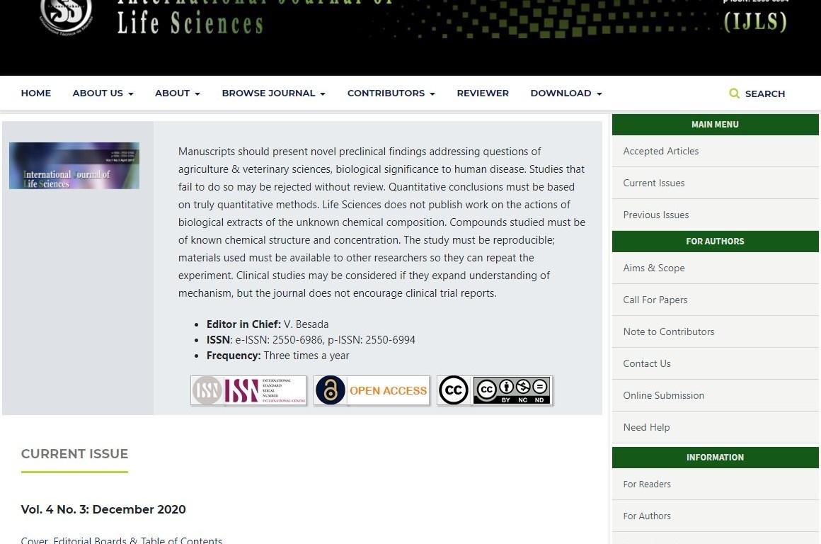 International Journal of Life Sciences (IJLS)