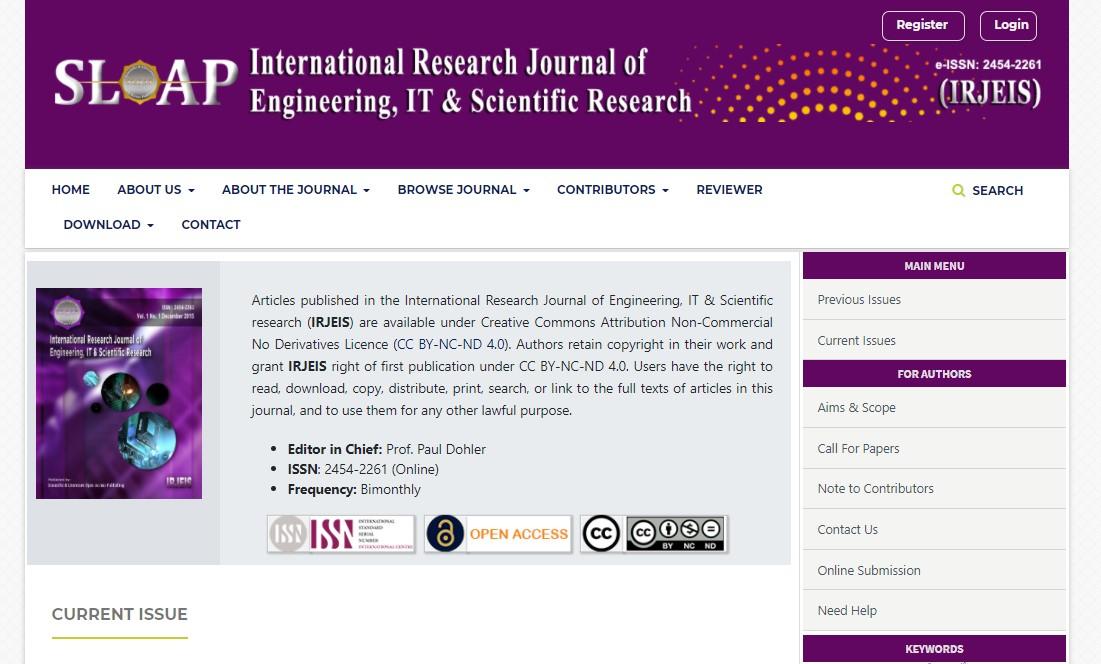 International Research Journal of Engineering, IT & Scientific Research (IRJEIS)