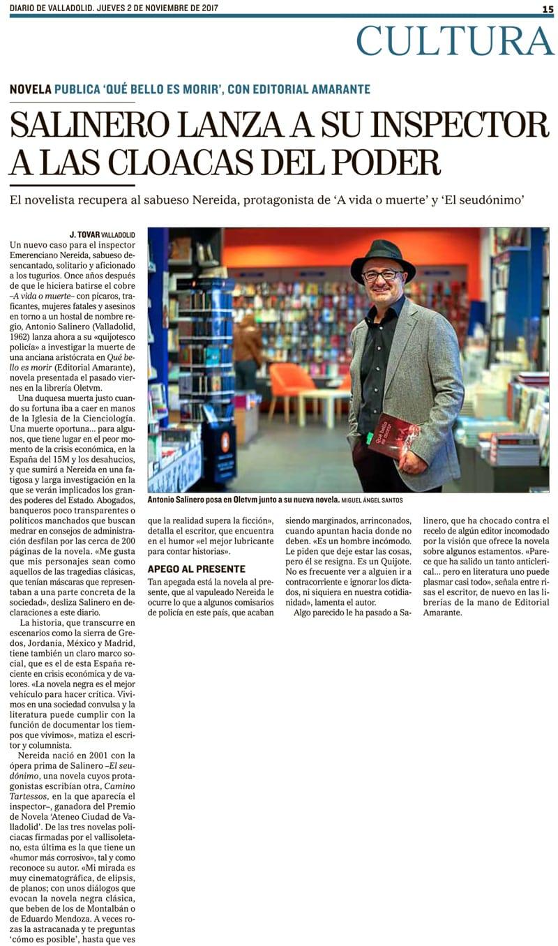 Editorial Amarante - Diario de Valladolid - Antonio Salinero - Que bello es morir