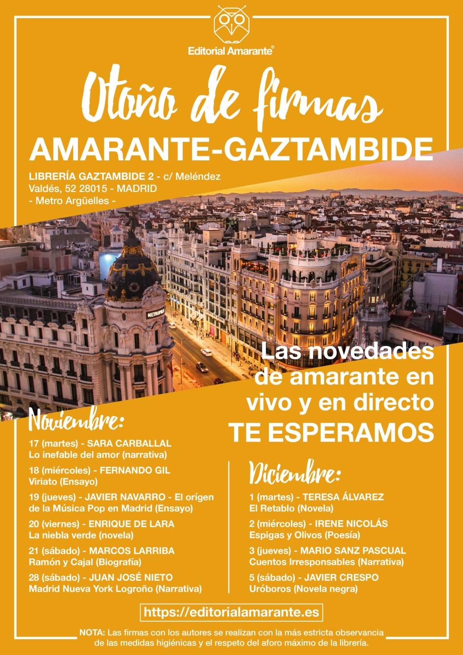 Otoño de Firmas Amarante - Gaztambide - Editorial Amarante