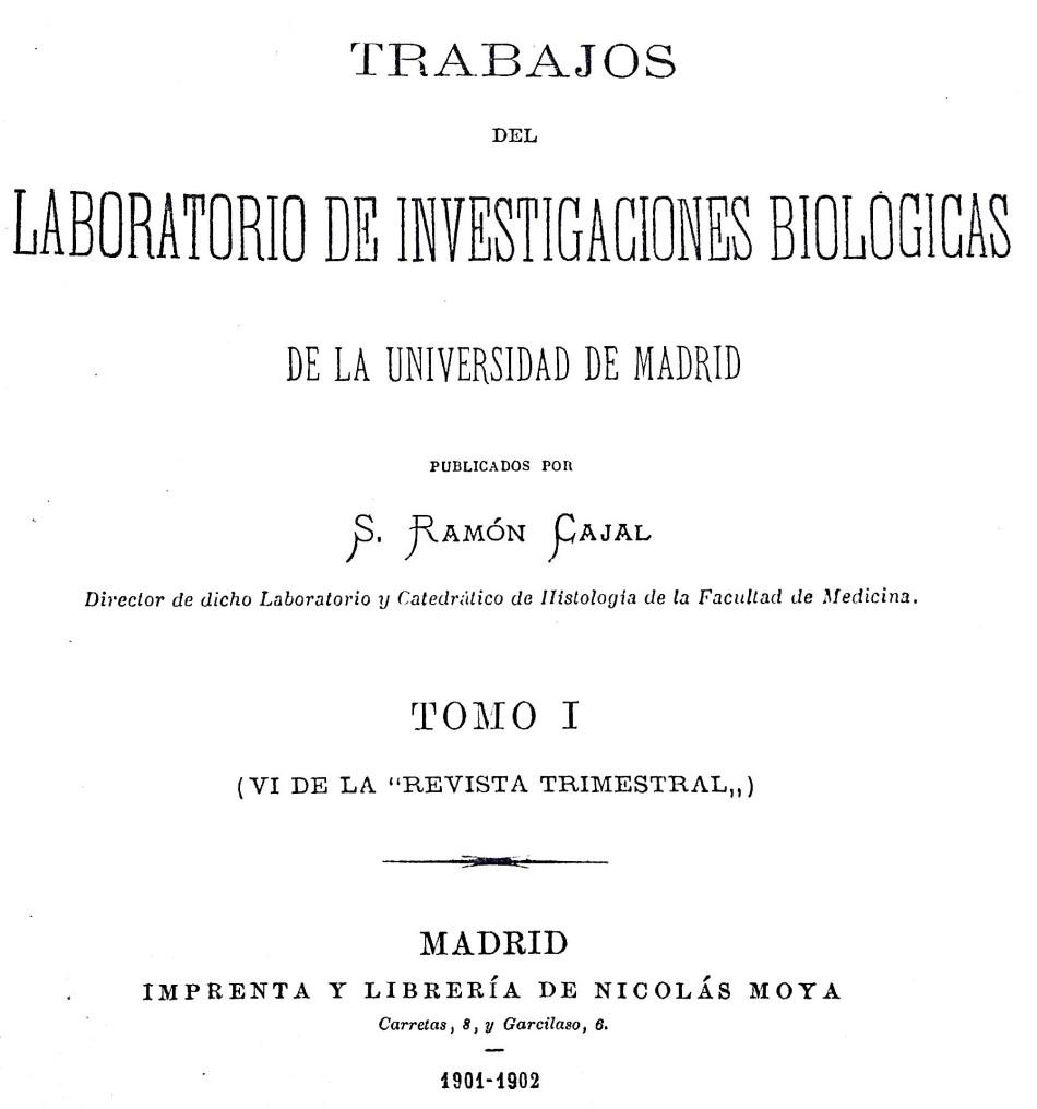 Portada del primer número de Trabajos del Laboratorio de Investigaciones Biológicas (1901-1902). Editado por la Librería Nicolás Moya.