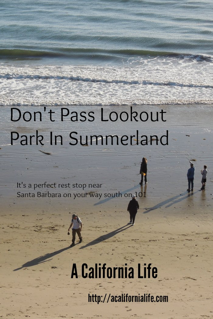 Don't Pass Lookout Park In Summerland. It is the best rest stop between San Luis Obispo and Ventura Counties. It has picnic areas, clean restrooms, beach access, and a dog wash.