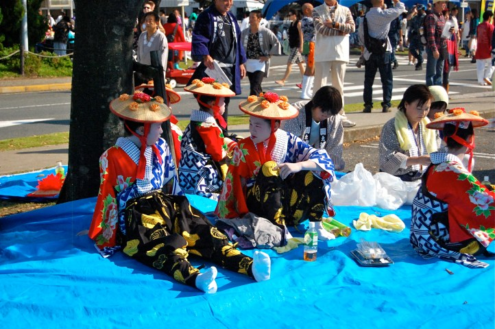 Some lovely Geisha girls enjoying lunch in the shade.