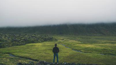 image of man facing his path