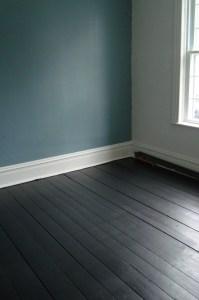 black floorboards | a cat peed on my drywall