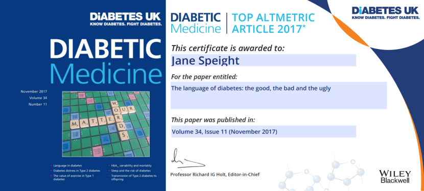 'The Language of Diabetes: The Good the Bad and the Ugly' is among Diabetic Medicine's top 20 most downloaded papers