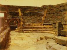 Giorgio Sommer (Germania, 1834-1914, attivo in Italia), Pompei, Teatro Greco (Pompeii, the Greek Theater), ca. 1860s. Hand-colored albumen silver print, 20.5 x 25.5 cm (8Vs x 10 in.).