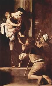 Madonna dei Pellegrini (Madonna di Loreto) tra il 1604 e il 1606 Olio su tela 260 × 150 cm, Basilica di Sant'Agostino in Campo Marzio (spazio pubblico)