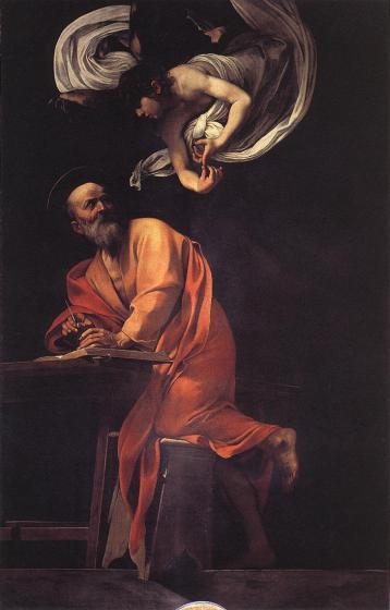 San Matteo e l'angelo 1602, olio su tela 295 × 195 cm, San Luigi dei Francesi (spazio pubblico).