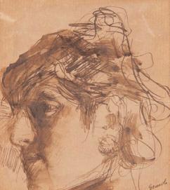 Mathilde allo specchio, inchiostro a penna e acquerellato, GDS 2811