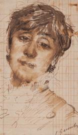"""Mathilde firmato: """"Gemito,"""" inchiostro a penna e acquerellato su carta quadrettata, GDS 2825"""