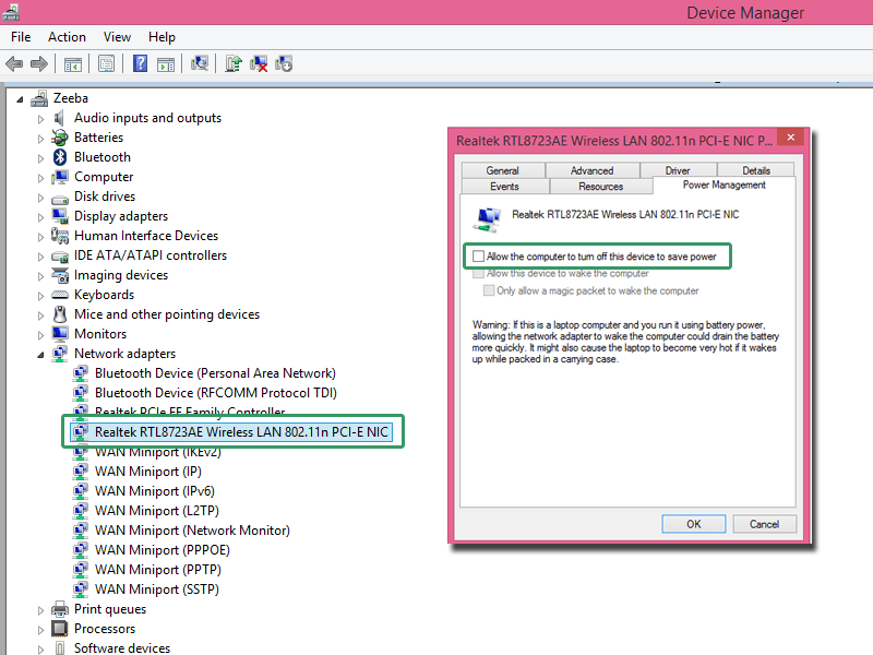 Changing Network adapter settings