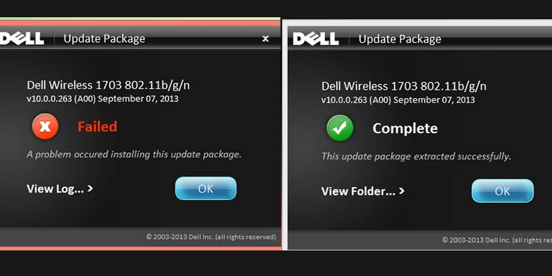 Dell update package error message