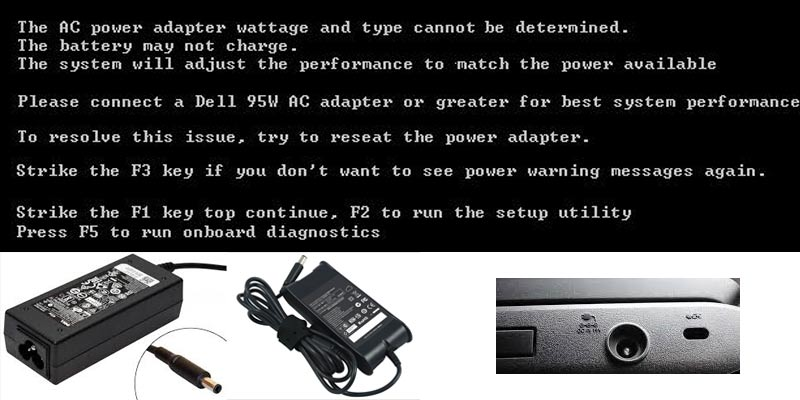 Dell AC power adapter wattage and type cannot be determined