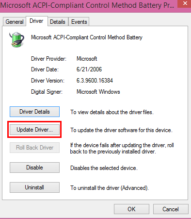Update windows battery drivers