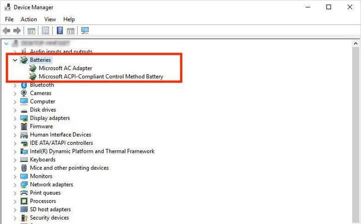 Device Manager batteries section to uninstall the ACPI driver