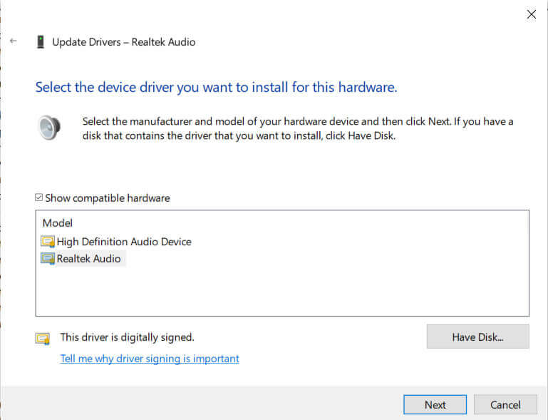 Enable High definition audio drivers