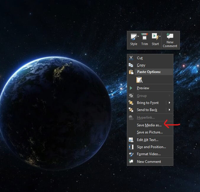 Save video from PowerPoint