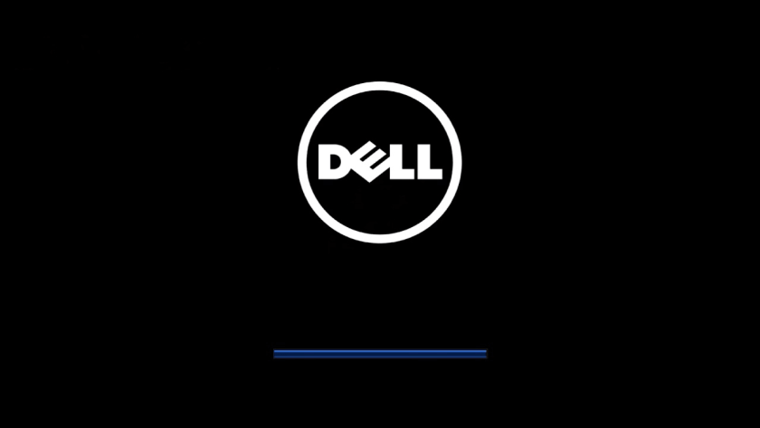 Dell laptop turning show Dell logo