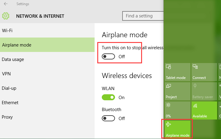 Disable airplane mode in windows 10