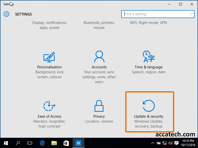 Windows 10 settings, select update and recovery