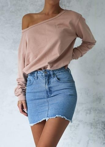 Midi skirt styled with easy offshoulder