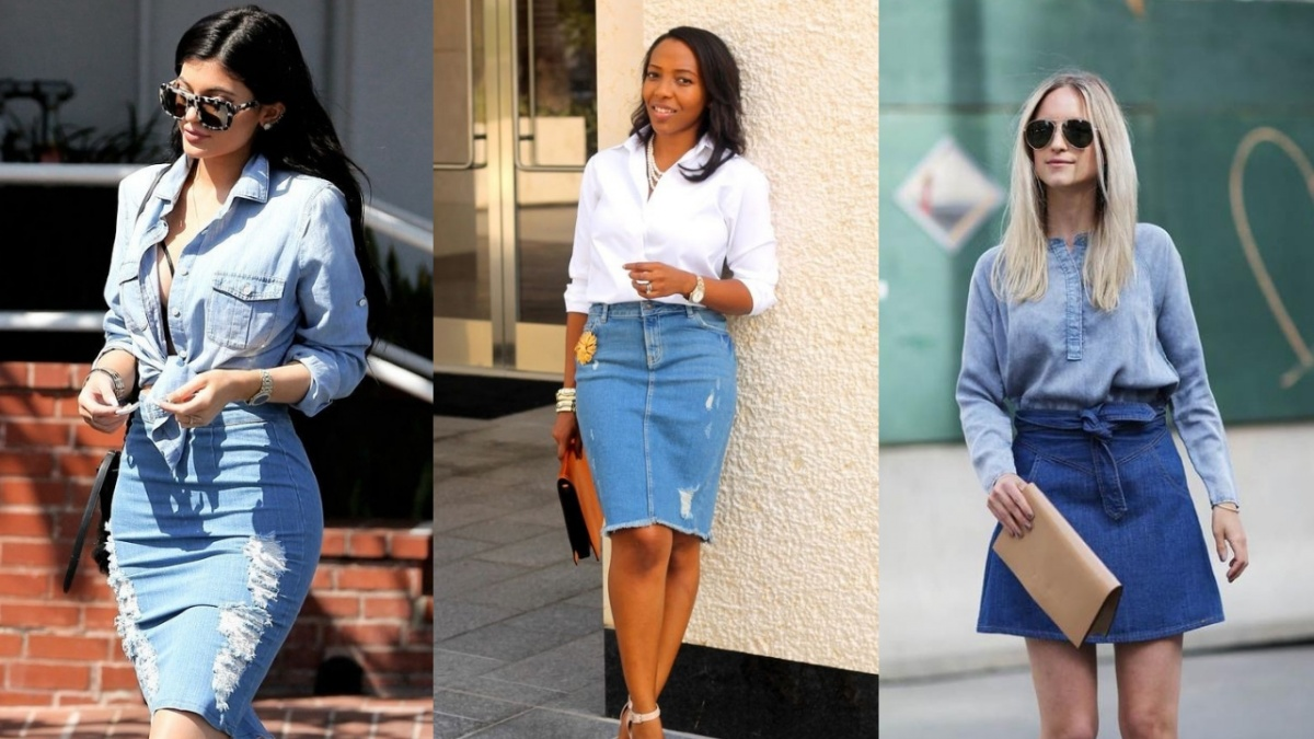 Image result for jean skirt style