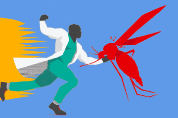 Image of a man fighting a mosquito