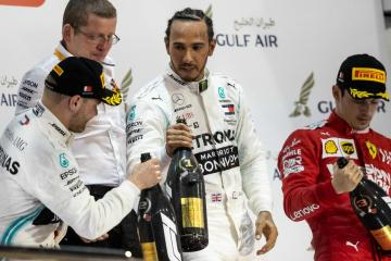 lewis hamilton on stage bahrain grand prix