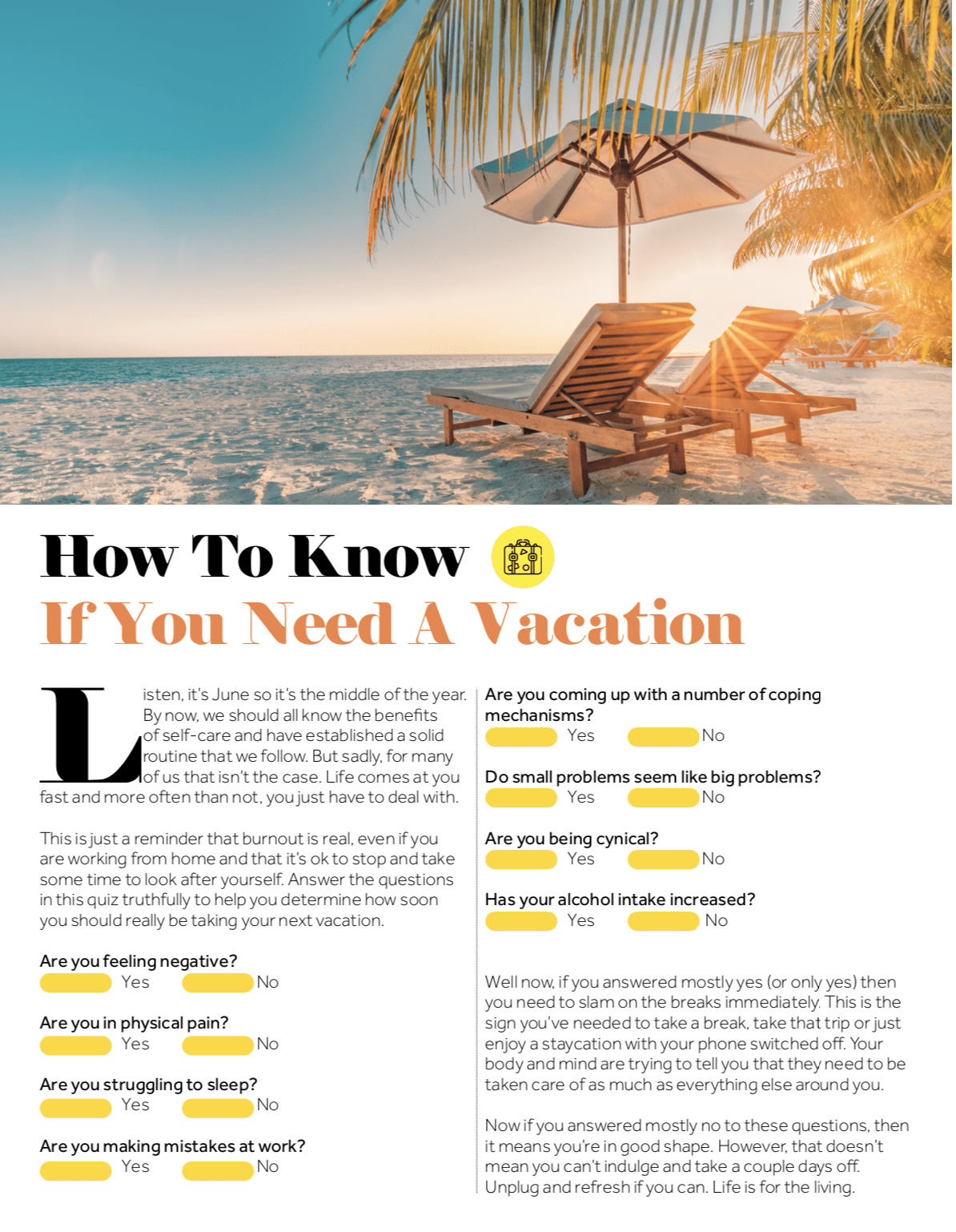 quiz: is it time for a vacation?