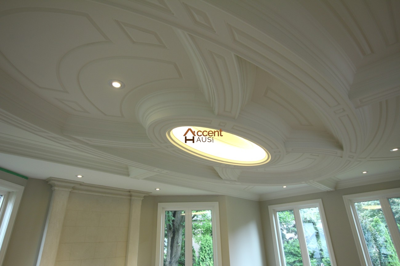 Custom Millwork Wainscoting Panels Coffered Waffle Ceiling